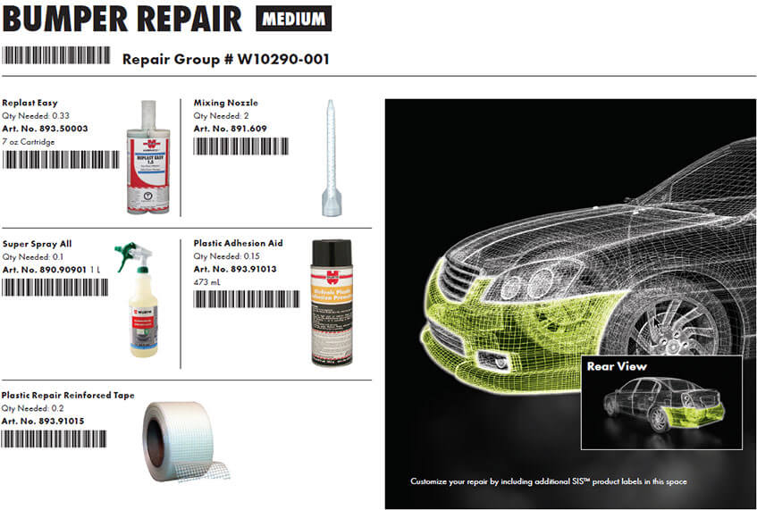 Group of products for bumper repair with a barcode